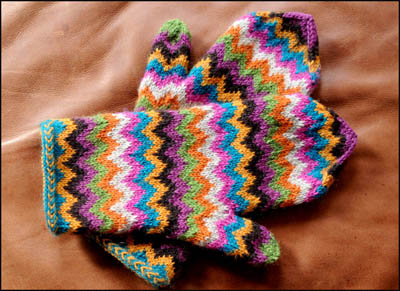 Free Knitting Pattern 10116-K Family of Mittens : Lion
